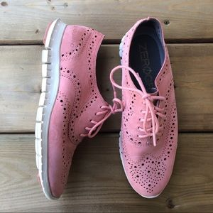 Cole Haan Zero Grand Pink Wingtip Oxford Shoes Comfort Leather ZeroGrand 5.5